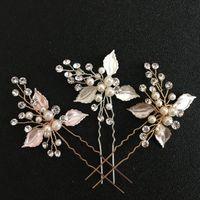 SLBLidal El Yapımı Temizle Kristaller İnciler Çiçek Düğün Pin Gelin Çıkartmaları Saç Aksesuarları Nedime Kadınlar Takı