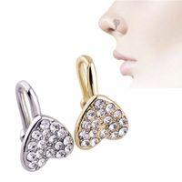 Clip en anillo de la nariz Piercing joyería de la moda Joyería del cuerpo en forma de diamante en forma de corazón Nueva nariz, Piercing no poroso 284 Q2