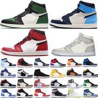 2021 Sapatos de Basquete Jumpman 1 1s Og Alta Pinho Verde Black Tribunal Roxo Royal Come Tee NC Obsidiano UNC Jogo de Couro Sneakers Treinadores