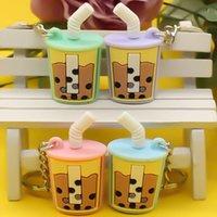 Key chain Imitation pearl milk tea PVC soft rubber pendant car interior decoration gift activity supplies