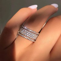 Wedding Rings Elegant Silver Color Rhinestone Crystal Ring Wide Love For Women Engagement Full Zircon Finger Jewelry Gifts