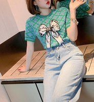 Color matching Sequin bow loose ice silk women's sweater short sleeve T-shirt 2021 new summer and autumn top
