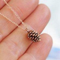 Creatieve pinecone plant hanger ketting voor vrouwen sieraden oude goud zilveren kleur kettingen hangers charms choker