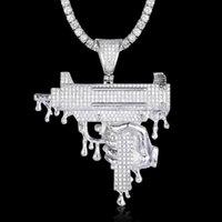 Pendant Necklaces 100% Micro Zircon Hip Hop Big Submachine Gun Necklace For Men Jewelry Drop Party Tennis Chain