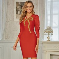 Casual Dresses 2021 Adyce Winter Women V Neck Red Bodycon Bandage Dress Sexy Three Quarter Sleeve Mini Celebrity Evening Runway Party