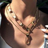 N7692 Statement-Anweisungs-Halskette für Frau europäischer und amerikanischer Trend übertriebene Hip-Hop-Stil dicke Kette Frauen mehrschichtige Anhänger Schmuck