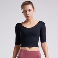 Fitness top women's T-shirt short sleeves with chest tight-fitting slimming quick-drying elastic navel exposed sexy sports yoga