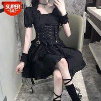 Insgoth Vintage Puf Kollu Siyah Elbise Lolita Bandaj Yüksek Bel Goth Estetik Fırfır Korse Mini Kadın Partywear # JX0G