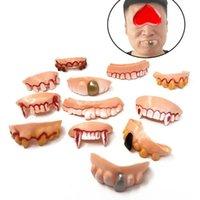 Party Masks 12Pcs set Halloween Prank Toys Simulation Rotten Teeth Vampire Denture Masquerade Cosplay Fake Trick Props