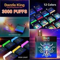 Original Randm Dazzle King 3000 Puffs Dispositivo Descartável Kit 1100mAh Bateria Prefcilada 8ml Vagens Vapagens Vape Stick Pen Colorido LGB LED Luz LED 12 Cores Bar Bar