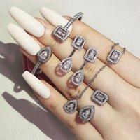 Браслет, серьги ожерелье 4 шт. Pack 2021 Роскошная принцесса 925 Стерлинговые серебряные серебряные ювелирные изделия Дубай для Wome юбилейный подарок оптом J617