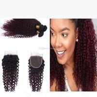Dunkle Wurzeln 1b 99j verworrene lockige Haare Gewebe mit Spitzenverschluss Ombre Farbe Rotwein 99j lockiges Haar 3bundles mit 4x4-Schließung