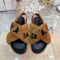 2022 Mujeres peludas zapatillas fluff síh diapositivas Sandalia Australia Fuzzy Soft Houss Ladies Zapatos para mujer Piel Sandalias Mullidas para hombre Invierno Slipp L595V #