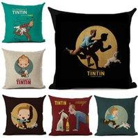 Kissen / dekorative Kissen Tintin Kissenbezug Leinen Cartoon Gedruckt Wurf für Sofa Auto Home Decoration Fall 45x45cm