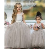 New Spaghetti Strap A Line Flower Girl Dresses Crystals Tulle Long Girl Pageant Party Dress