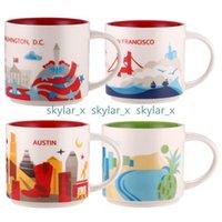 14 oz kapasite seramik starbucks kupa Amerikan şehirleri en iyi kahve fincanı kutusu ile New York Cityox Chicago