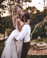 Sexy Lace Deep V Neck Backless Long Beach Wedding Dress Sweep Train Tulle Sleeveless Boho A Line Bridal Dresses