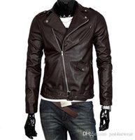 Moda Moda Moda PU Couro Motocicleta Jaquetas Lapela Neck Britânica Brown Branco Casaco Preto Masculino Manga Longa Casacos de Couro S-5XL