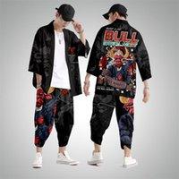 Ethnic Clothing Japanese Kimono Men Black Bull Print Cardigan And Pant Set Shirt Blouse Yukata Haori Obi Clothes Samurai