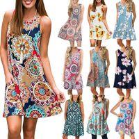 Robes de robe à crampons imprimées manches imprimées robe de femmes européennes et américaines en été plus Taille S / M / L / XL / XXL / XXXL