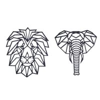 Wall Stickers 2 Pcs 3D Geometric Wood Animal Sticker For Decoration Home Art Decor Kids Room Bedroom, Lion & Elephant