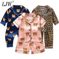 Ljw crianças pijamas conjunto bebê terno crianças roupas bebidas meninos meninas gelo seda cetim desenhos animados impressão tops calças home wear