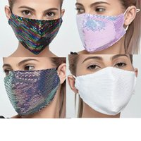 2022 3D Washable Reusable Mask Sequins Fashion ice silk Bling Shield Sun Color Gold Elbow Shiny Face-Masks Mouth instock dysoon