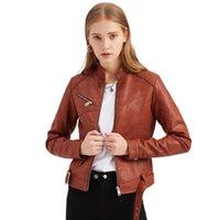여성용 재킷 2021 디자인 여성 세련된 지퍼 벨트 짧은 슬림 자켓 Outwear 단단한 PU 가죽 봄 가을 세련된 캐주얼 코트