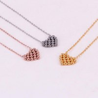 Pendant Necklaces Fashion Love Stainless Steel Small Ball Heart Necklace Chain Rose Gold Color Women Female Party Gift