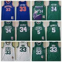 ميتشل و Ness كرة السلة بول بيرس جيرسي لاري بيرد 33 كيفن جارنيت 5 باتريك إوينج راي ألين 34 خمر مخيط أخضر أزرق أبيض