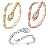 Bisaer - women's snake shaped opening ring, adjustable animal ring, transparent zircon, 925 sterling silver, jewelry, novelty, ecr666 J0525