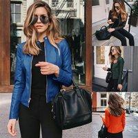Cropped Jackets Spring Autumn Women Short PU Leather Clothes Solid Cardigan Coat Zippers Outwear 2021 Blouson Feminina Women's
