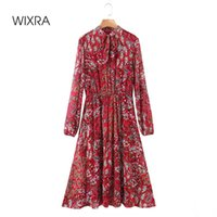 Wixra A Line Dresses Floral Print Womens Lace Up Collar Long Sleeve Empire Mid Calf Clothing Street Style 2021 Spring Summer Casual