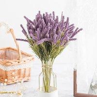 Planta artificial Lavanda Orejas de trigo Decoración para el hogar Artesanía de Navidad Arreglo de flores DIY Sala de estar Flores falsas Bonsai Wedding Decorativo