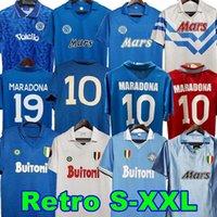 تي شيرت رجالي قميص الكبار أعلى جودة 1987 1988 1989 نابولي الرجعية mertens lozano insigne maradona 2021
