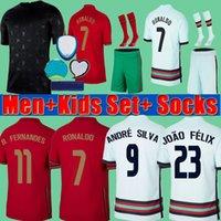2020 Portugal Pre match Training suit EURO Cup Men + Crianças RONALDO Fernandes 2021 de Futebol 20 21 André Silva Joao Felix PEPE DANILO camisas do futebol kits conjunto