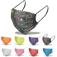 designer face mask with drill black white pink blue yellow bling diamond masks women girls summer Breathable decoration rhinestone facemask