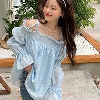 Women's Blouses & Shirts Loose Blue Chic Blouse Women Autumn Slash Neck Chiffon Off Shoulder Japan Sweet Style Ladies Tops Fashion Female Cl