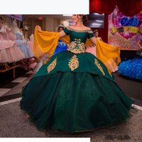 Modern Dark Green Quinceanera Dresses Ball Gown Sweet 16 Gold Appliques Off the Shoulder vestidos de quinceanera Formal Prom Dress