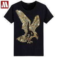 İngiltere tarzı fantezi tişört kısa kollu t-shirt kartal tasarım alt t shirt baskı yaz rhinestone erkek moda katı myDBSH 210317