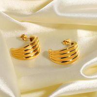 Hoop & Huggie Gold Plated Striped Earrings For Women Gifts Geometric Stainless Steel Shape Vertical Stripe
