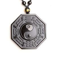 pingente obsidiano oito diagramas pingente yin yang peixe tai chi cinco elementos colar para homens e mulheres