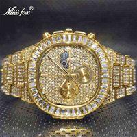 Männer Chronographen Watch 2021 Luxus schwarzes Missfox Eis Bling Stein Schmuck Uhren für Mann Relogios Atacado com Frete Gratis