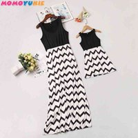 mother mommy and me Dresses clothes stripend long dress family look dress matching family outfits mum mama and daughter dress 210713