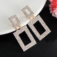 Women's Fashion Bride Wedding Jewellery Square Rhinestone Dangle Earring Austrian Crystal Drop Earrings For Women Jewelry