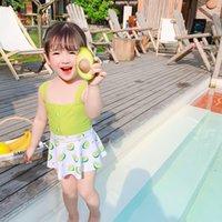 2021 Bébé fille maillot de bain de maillot de bain Avocado imprimé gilet sans manches Beach Romper Summer Taille haute taille avec chapeau de natation