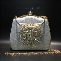 Women Clutch Handbag Wedding Bridal Evening Bags Crystal Flower Sunflower Rhinestone Purse Bag