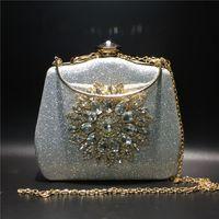 Women Clutch Handbag Wedding Bridal Evening Bags Crystal Flower Sunflower Rhinestone Purse Bag