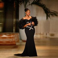 2022 Black African Mermaid Prom Dresses Tiered Puffy Half Sleeves Appliques Evening Dress For Dubai Girls Party Gowns Aso Ebi