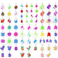 party favor rainbow keychain simple dimple mini keyring trinket silicone fidget toy dinosaur mouse bear animal key pendant